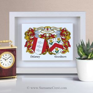 Two family coat-of-arms on an Italian made Ceramic tile. Framed with a wooden frame - specially made in Ireland.