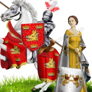 Illuminated document - Knight and Lady - two family crests.