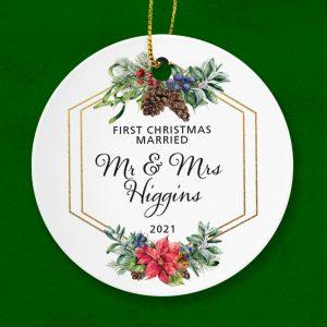 Personalised First Christmas Married Ceramic Keepsake Ornament.