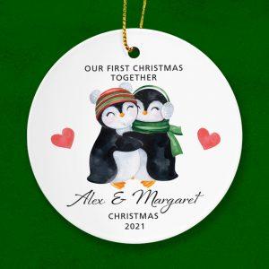 Couple's First Christmas Together - Penguin Hug Ornament.
