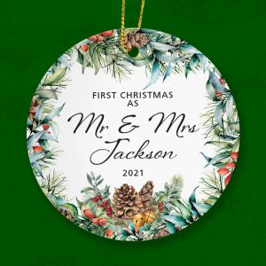 Couple's- First Christmas as Mr and Mrs. Beautiful Ceramic Gift.