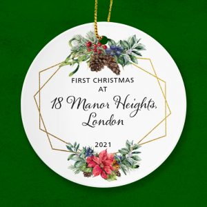 Celebrate a First Christmas at a new home or address.