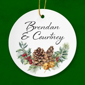 A gift for a couple at Christmas. Personalised ceramic ornament..