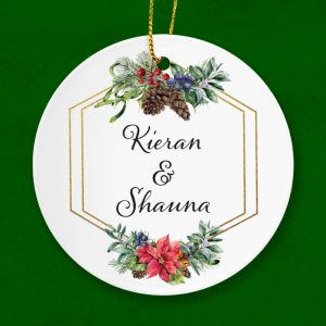 A Couple's personalised first names Gift. Christmas tree hanging ornament.