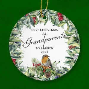 New Grandparents Christmas gift. A personalised ceramic ornament with Childs name.