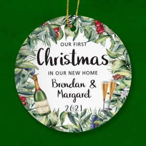 Personalised ceramic ornament that celebrates a first Christmas in a new home.