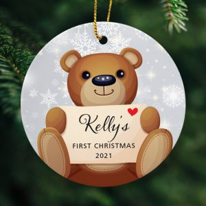 Babys first Christmas. Personalised tree ornament - Grey.
