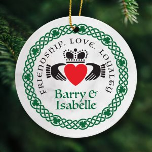 Personalised Claddagh Ring Christmas ornament. Irish designed and made.