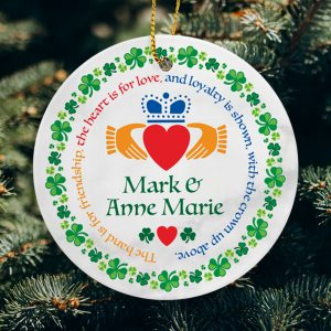 Couple-Names-Claddagh Ring-Verse. Personalised Christmas Ornament.
