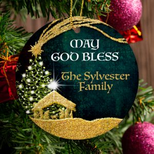 May God Bless this Family - Nativity Scene Personalised Christmas Ornament - Green