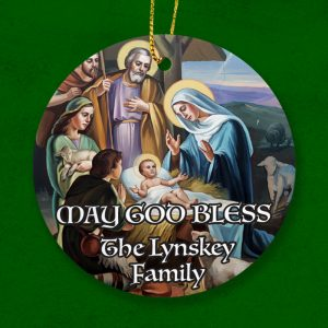 Personalised religios Christmas Ornament. Wishing God's blessings to a family.